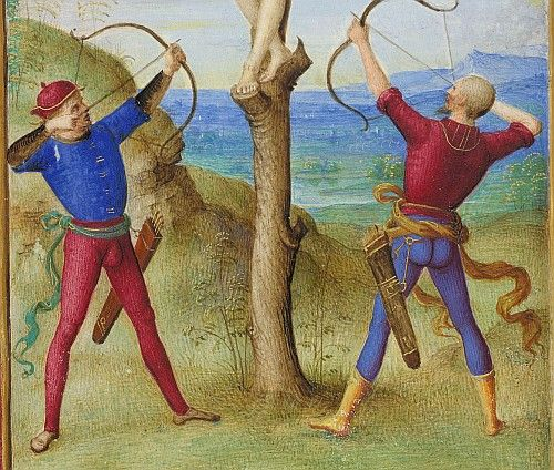 "1500 Bologna: Detail of archers in miniature ""Martyrdom of San Sebastian"" from the Book of Hours of Bonaparte Ghislieri (Brit. Lib. Yates Thompson 29, fol. 132v), signed PETRVS . PRVSINVS . PINXIT."