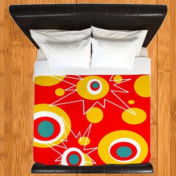 Modern Duvet Cover,Retro Duvet Cover,Geometric Duvet Cover,Atomic Red Duvet Cover Duvet Cover, Mid Century Bedding