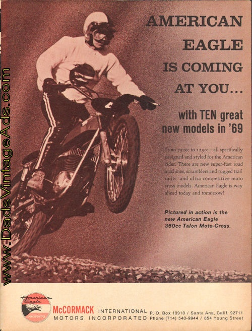 1969 American Eagle 360cc Talon Moto-cross – Coming at you!