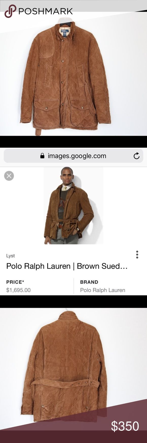 RALPH LAUREN SUEDE QUILTED COAT 💯% leather/suede.  It's super thick and heavy.  Bought from Ralph Lauren website in 2013.  Color is as picture 2 shows. Polo by Ralph Lauren Jackets & Coats
