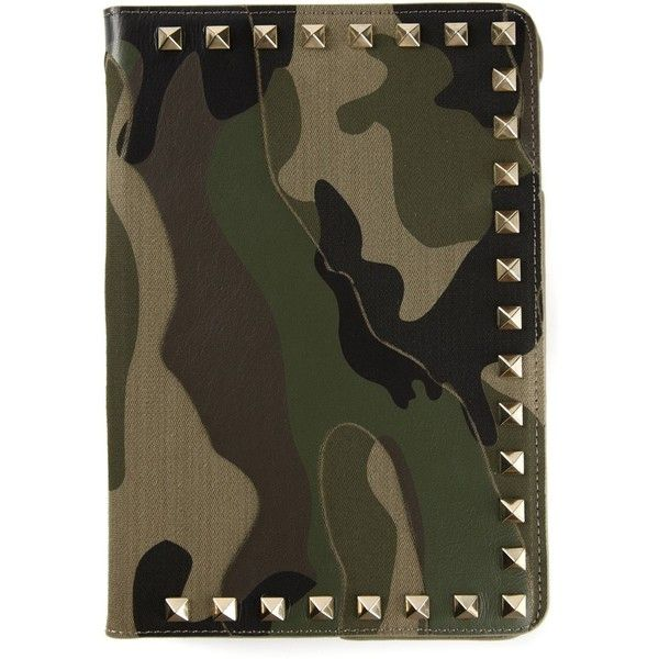 Valentino Garavani Rockstud iPad Case (3.120 BRL) ❤ liked on Polyvore featuring accessories, tech accessories, green, genuine leather ipad case, ipad cover case, ipad sleeve case and leather ipad case