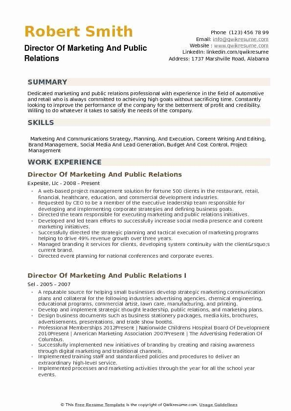 Public Relations Proposal Sample Unique Director Of Marketing And Public Relations Resume Samples In 2020 Resume Examples Job Resume Examples Good Resume Examples