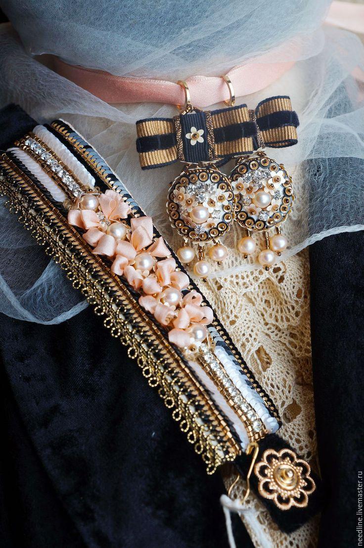 """Купить браслет """"Нежность"""" - разноцветный, черный, золотой, ручная работа, авторское украшение, вышитый браслет"""