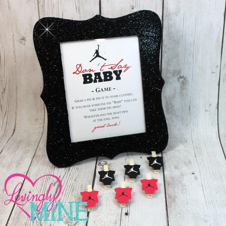Don't Say Baby Game - Jordan Jumpman Inspired Baby Shower Game Sign & Pins - Black and Red - Basketball Theme, Designer Inspired by LovinglyMine on Etsy - Jordan Baby Shower