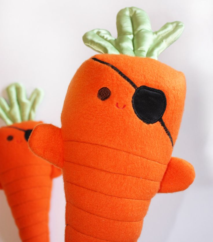 Carrots of the Caribbean, Stuffed Pirate, Stuffed carrot Toy, Baby Toy, Orange Plush toy by BBsForBabies on Etsy https://www.etsy.com/listing/95935851/carrots-of-the-caribbean-stuffed-pirate