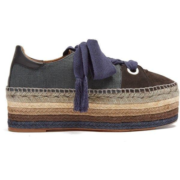 ded5d132e Chloé Qai lace-up platform espadrilles ($650) ❤ liked on Polyvore featuring  shoes, sandals, black, black espadrille sandals, black sandals, ...