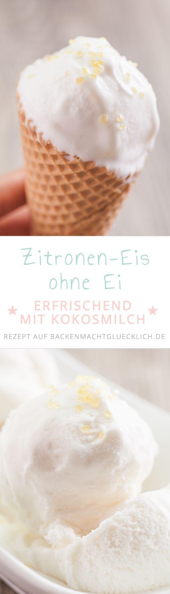 Cremiges Zitroneneis ohne Ei. Das selbstgemachte Zitroneneis wird mit Kokosmilch gemacht und klappt mit und ohne Eismaschine.