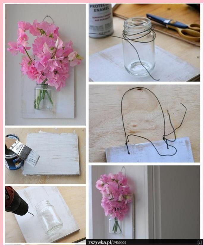 Frascos cristal. Floreros de pared.