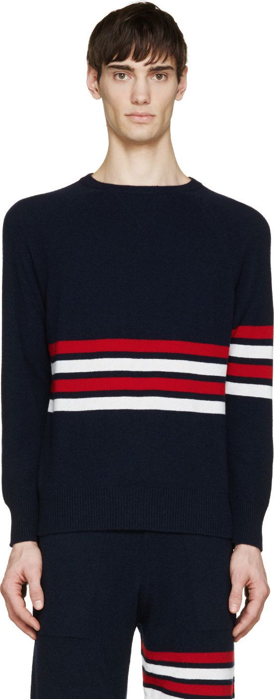 Thom Browne Navy & Red Cashmere Striped Sweater