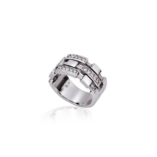 Cubic ring in 18ΚΤ white gold with diamonds.