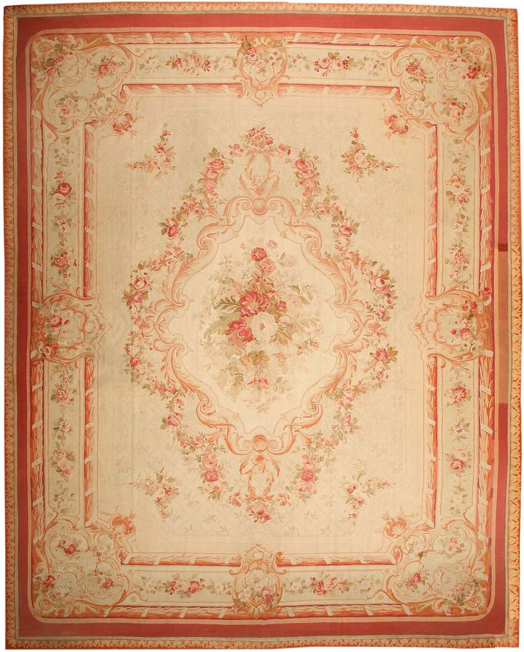 Antique Aubusson French Rug 43646