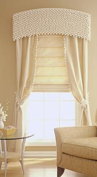 Rows of ball fringe give this cornice a look so soft you just want to run your fingers over it. Easy tutorial.