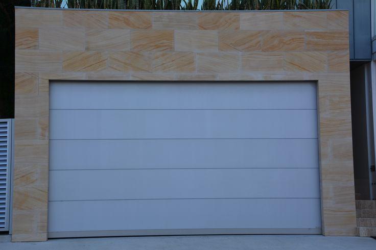 Sandstone garage but with timber garage door instead