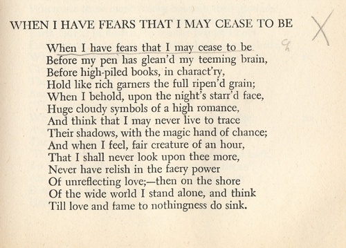 Analysis of When I Have Fears by John Keats Essay