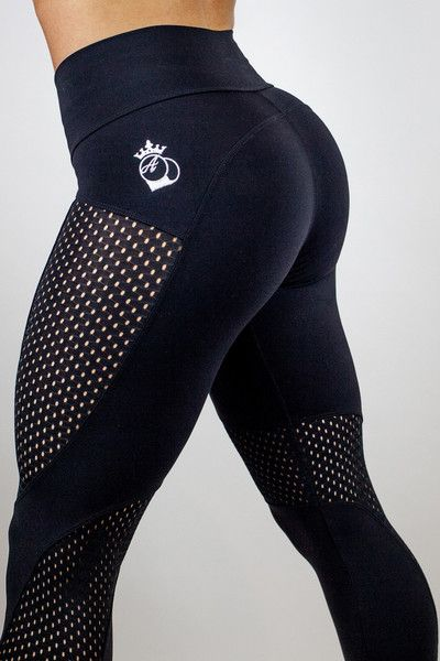 Bootyqueen Laser Cut Legging Double Black