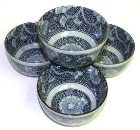 Gingko Rice Bowls Set of 4 by Uncommon Treasures. $34.95. Gingko ~ set of 4 rice bowls. Each bowl is approximately 5 inch in diameter and 3 inches tall. Comes gift boxed. Handcrafted in Japan. Visit our Tableware or Sake Set category for matching Sake Sets and Noodle Bowls.. Save 26%!