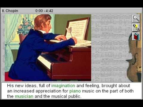 Frederic Francois Chopin (Great Composers Part 5) - http://www.zaneeducation.com - Frederic Francois Chopin - a Great Music Composers title - Trace the life and musical career of one of the world's greatest composers: Frédéric Chopin. Listen to excerpts from major works by Chopin, and perceive how his childhood and musical training, and culture in which he lived, influenced his work. Explore the events that shaped the creation of Chopin's revolutionary piano compositions.