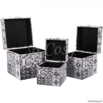 J-Line Set van 3 kubus dozen oosters motief zwart-wit 25