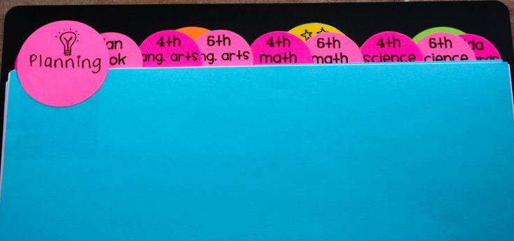 Teacher binder organization....printable tabs