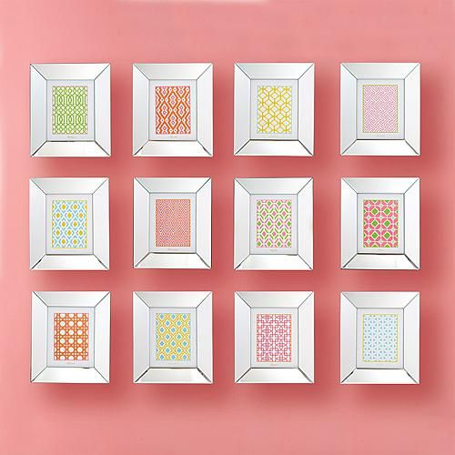 Home Marketplace Two's Company Geometric Wall Art Prints in Mirror Frame - Set of 12