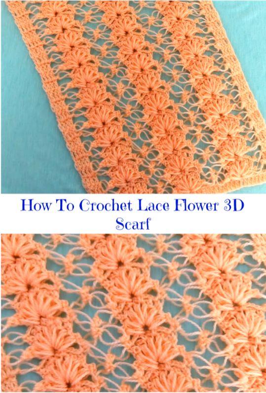 lace flower 3d scarf