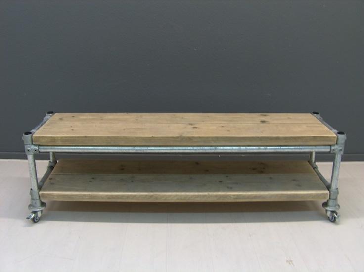 Tv meubel van steigerhout met steigerbuis (22131536)