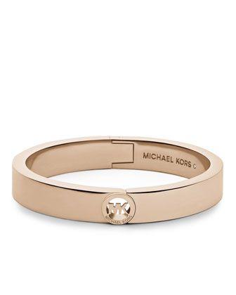Michael Kors Fulton Skinny Bangle, Rose Golden.