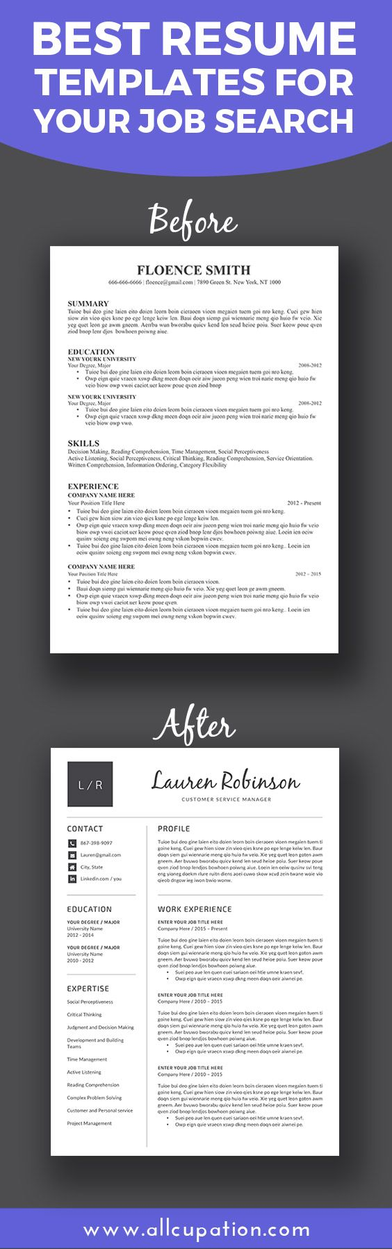Best resume templates for your job search. Visit www.allcupation.com for more. #resume #cv #template #interview #job #career #word #resumedesign #resumewriting