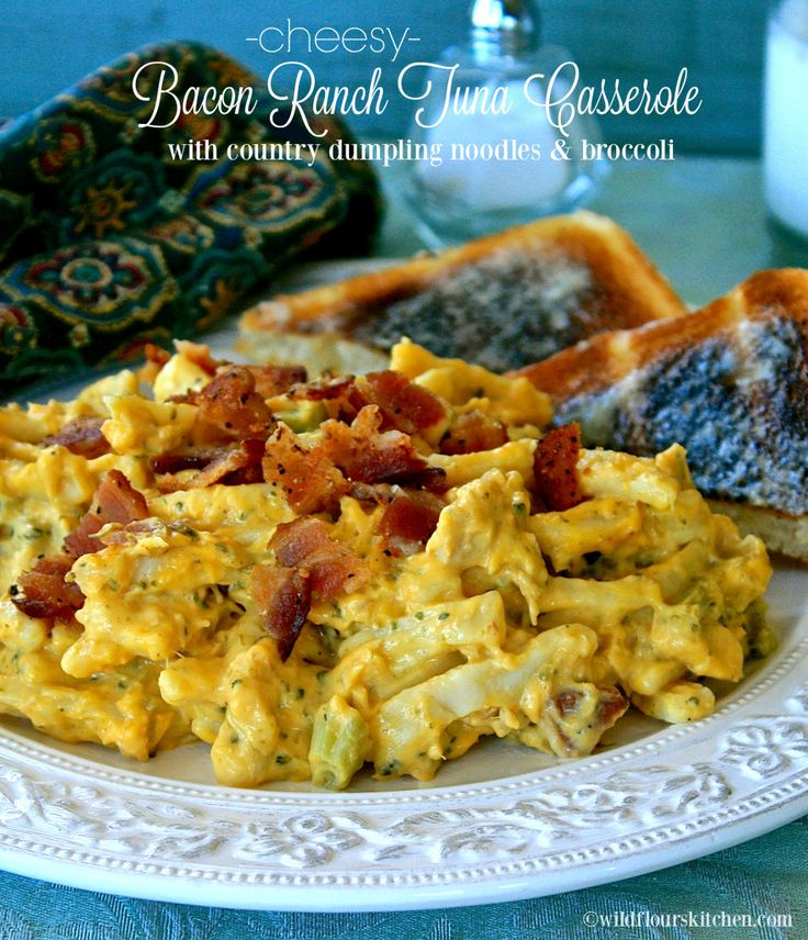 Cheesy Bacon Ranch Tuna Casserole with Country Dumpling Noodles & Broccoli