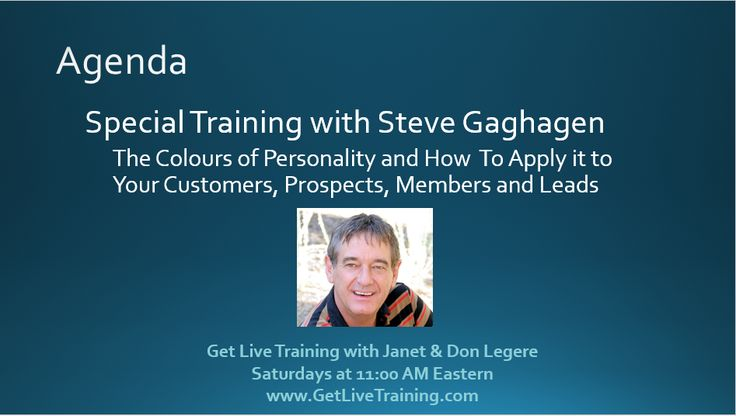 Special Event Saturday May 30 with Steve Gaghagen on the Colours of Personality at 11:00 AM Eastern
