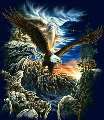 Optical Illusion - There are seven eagles in this painting, can you find them all? At first the images are hard to see, but after your mind's eye sees them, the brain reorganizes the information so you are able too see them more easily in the future. I found 4.