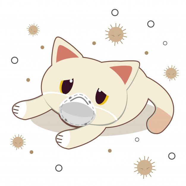 The Character Of Cute Cat Wear A Mask With Dust On White In 2020