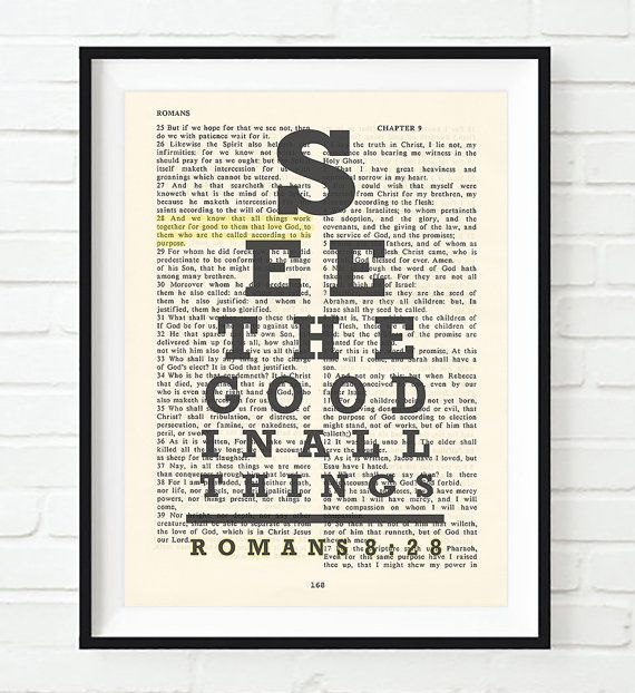 Vintage Bible page verse scripture See the Good in All Things - Romans 8:28 eye chart ART PRINT, UNFRAMED, old dictionary christian gift