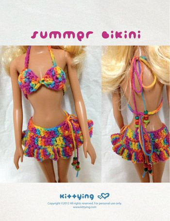 Barbie Doll Summer Bikini Crochet PATTERN by Kittying.com / mulu.us