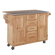 image of Home Styles Natural Wood Breakfast Bar Rolling Kitchen Cart