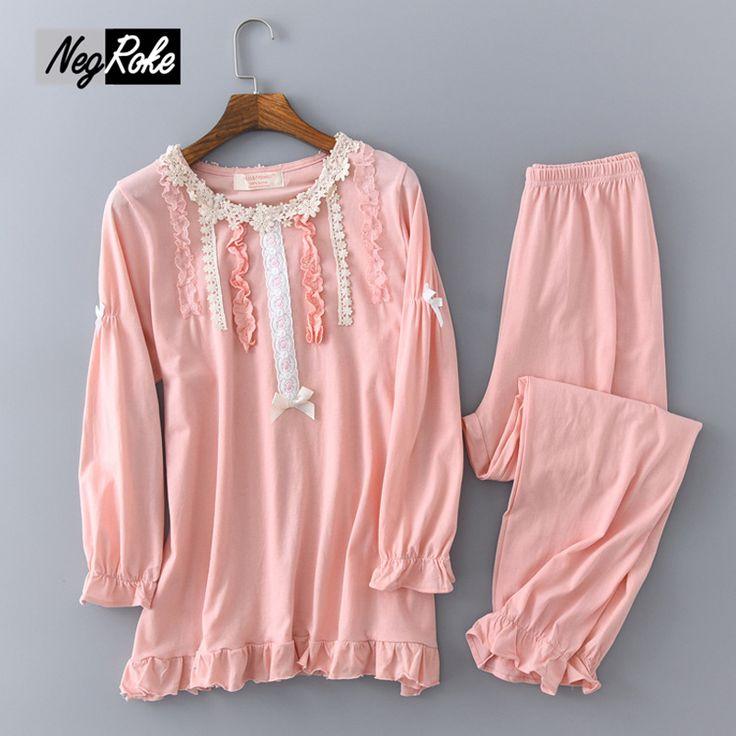 New Spring Korean style 100% cotton kawaii pajamas sets womens sweet pink simple long-sleeved cute pyjamas sleepwear for women