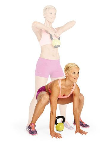 Crank It - the kettlebell and your burn, that is. This exercise works your entire bod in just 1 minute.
