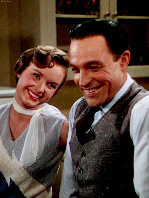 Gene Kelly and Debbie Reynolds on the set of 'Singin' in the Rain'