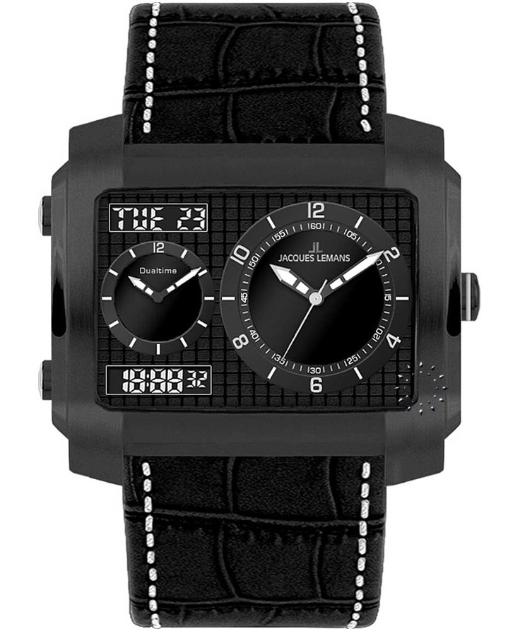 Jacques LEMANS Madrid Dual time All Black Chronograph Μοντέλο: 1-1708C Τιμή: 128€ http://www.oroloi.gr/product_info.php?products_id=31782