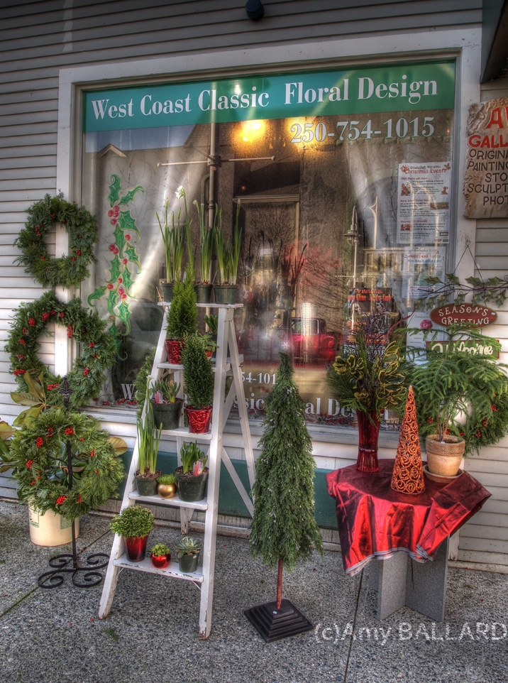 """West Coast Classic Floral Design.  Amazing support for Emily Ballard's surf fundraiser.  Jim Ballard's Nanaimo Travel Blog.  """"Christmas Shopping in the Old City Quarter"""".  See it at www.jimballardhomes.ca """"Social"""" #explorenanaimo"""