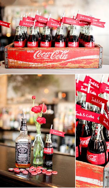 Coca Cola Wedding Drinks (add a bottle of Captain next to a bottle of Beam)