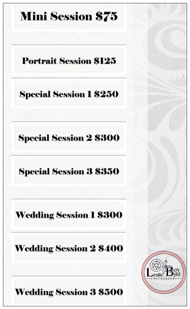 Session Packages Price List| Photography| Leslie Byrd Photography