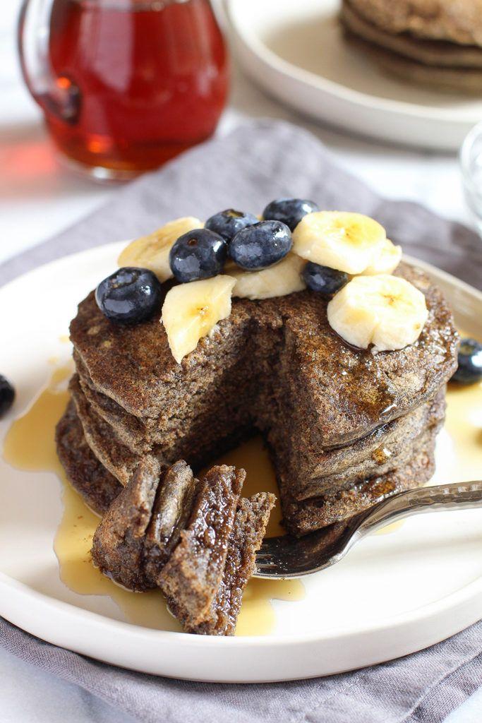 Vegan & gluten free buckwheat pancakes - so light and fluffy and full of…