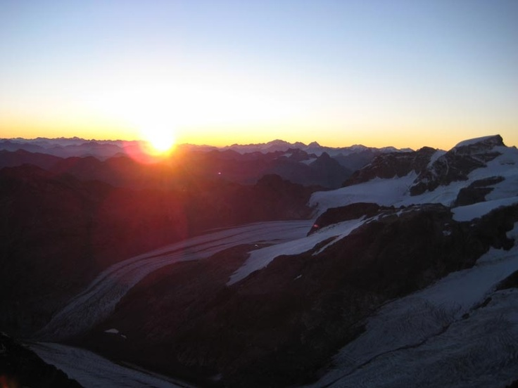 Bernina. Rising sun on our way up