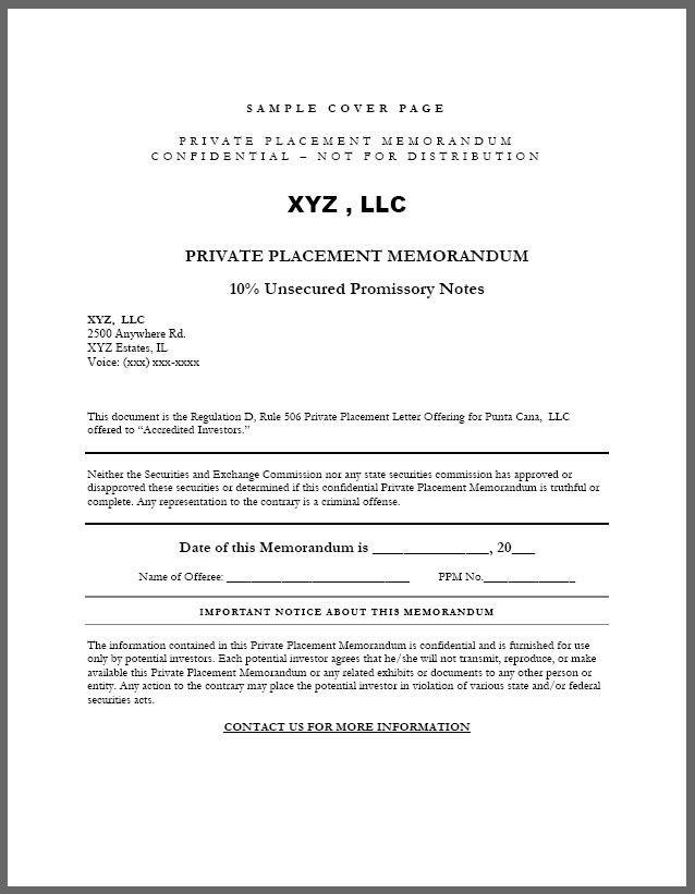 27 Private Placement Memorandum Sample Memorandum Memorandum Template Cover Pages