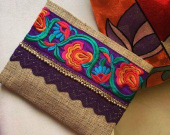Lilac Bohemian Clutch by BOHOCHICBYDAMLA on Etsy