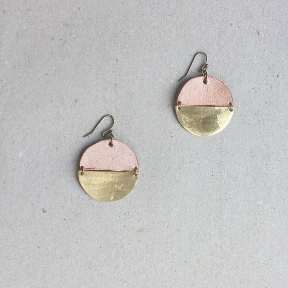 MILK earrings ( Leather and brass ) - Minimal metalwork jewelry on Etsy, $67.00