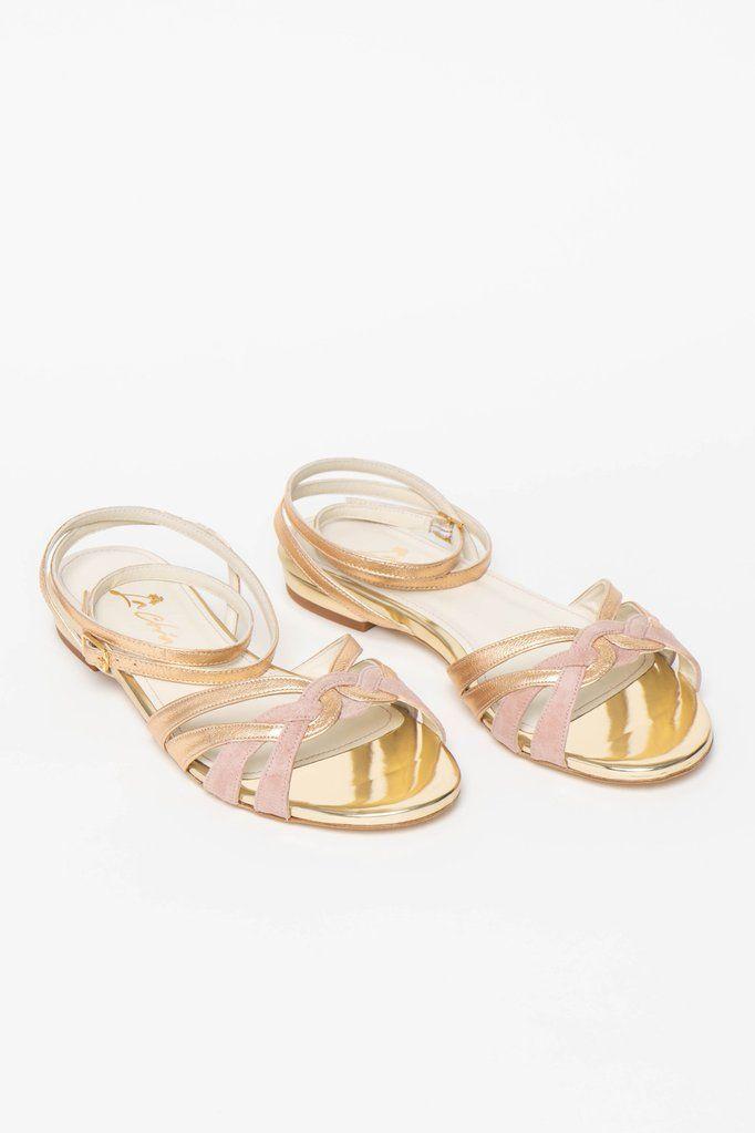 Brautschuh Flache Sandalette In Gold Und Altrosa Zur Hochzeit Athen Brautschuhe Hochzeitsgast Schuhe Brautaccessoires