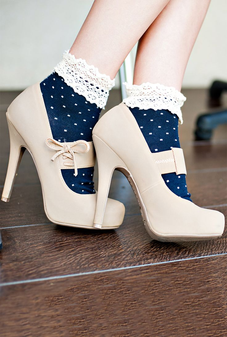 Milady's Boudoir Crochet Lace Trim Polka Dot Print Ankle Socks in Navy Blue- love the shoes