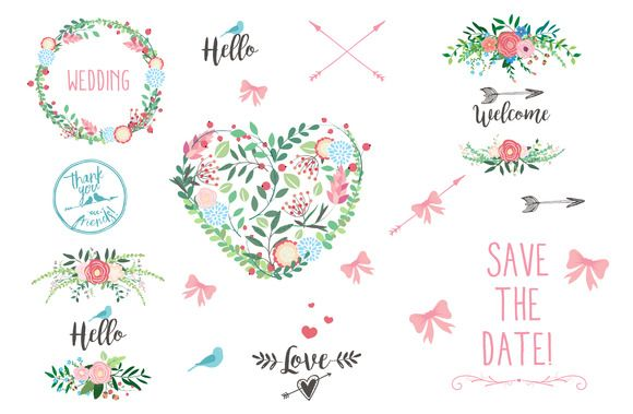 Save The Date Wedding Clipart by CutePaperStudio on @creativemarket